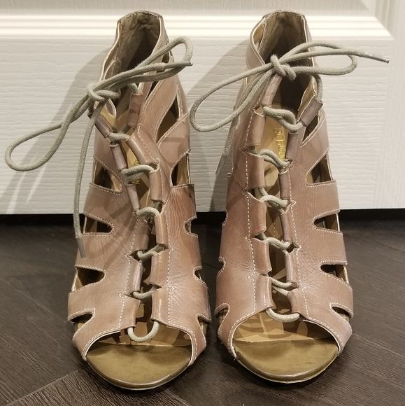BCBG Generation Open Toe Lace Up Heels
